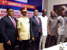 L-R: Director, Public Affairs, Nigeria Communications Commission (NCC), Tony Ojobo; Corps Marshal, Federal Road Safety Corps (FRSC), Boboye Oyeyemi; Guest Speaker, Rotimi Amaechi; Publisher CKN news, Chris Kehinde Nwandu; Publisher, The Oracle Newspaper, Ikeddy Isiguzo; and ace comedian, Okey Bakassi.